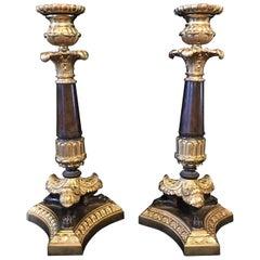 Pair of Napoleon III Gilt Bronze Candlesticks