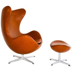 Arne Jacobsen Egg Chair with Ottoman, 1960s