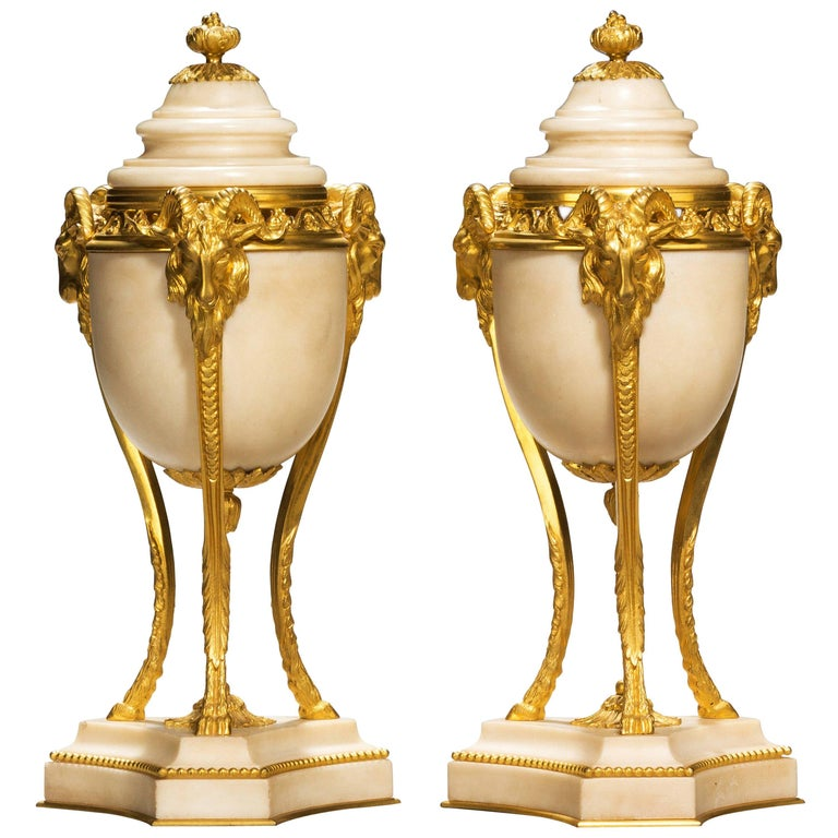 Pair of Early 20th Century French Gilt Bronze and Marble Lidded Vases