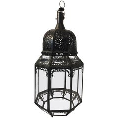 Moroccan Moorish Octagonal Metal and Glass Candle Lantern