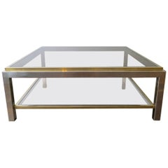 Square Chrome and Brass Coffee Table by Jean Charles