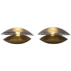 Ein Paar Messing und Muranoglas Lampen von Esperia, Italien, 1970er Jahre