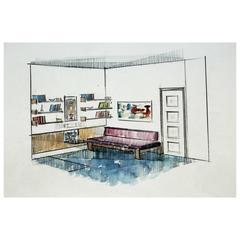 """Vintage Interior Designer Sketch, """"Dormitorio Ninas"""""""