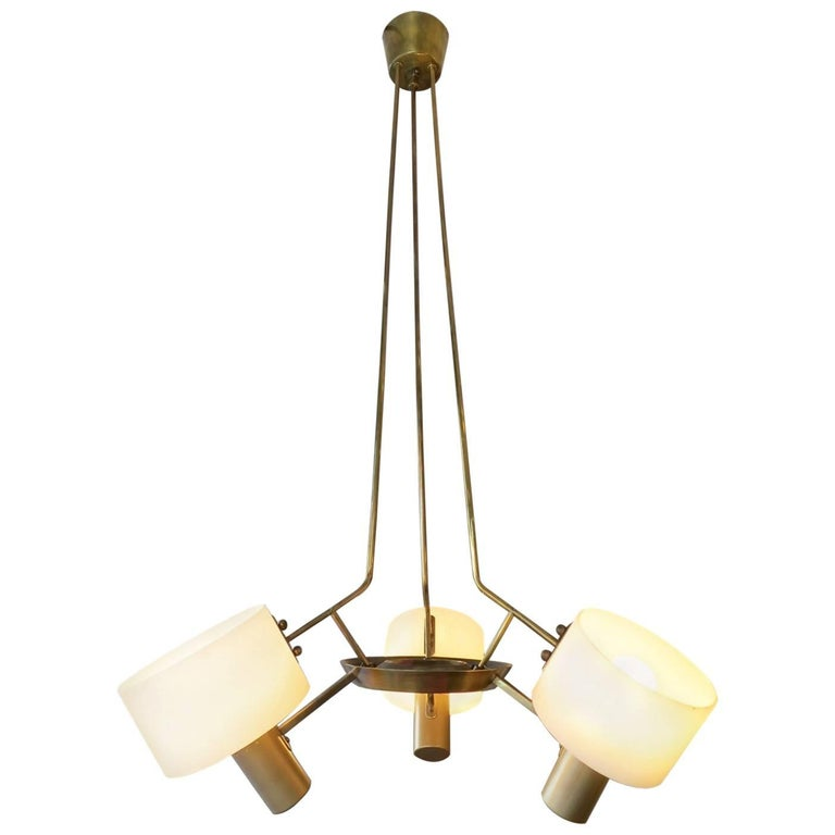 Italian Mid Century Brass Pendant Light For Sale