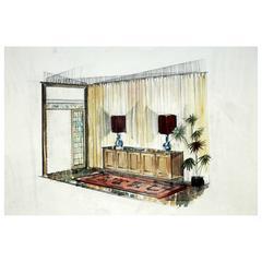 """Vintage Interior Designer Sketch, """"Pasillo Recibidor"""""""