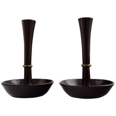 Jens H. Quistgaard, a Pair of Candlesticks in Cast Iron, Danish Design, 1960s