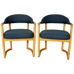 Pair of Scandinavian Style Bentwood Oak Armchairs with Blue Upholstery