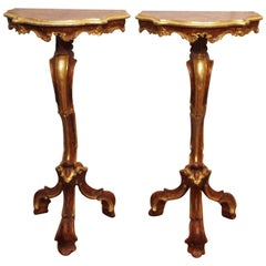 Pair of Louis XV Italian Sellette Painted and Parcel-Gilt