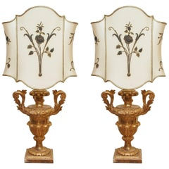 Pair of 19th Century Gilt Urns Now as Lamps with Custom Shades