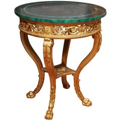 Italian 19th Century Giltwood Louis XVI Style Table with Slate and Malachite Top