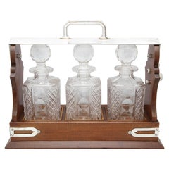Edwardian Silver Plate-Mounted Wood Three-Bottle Tantalus