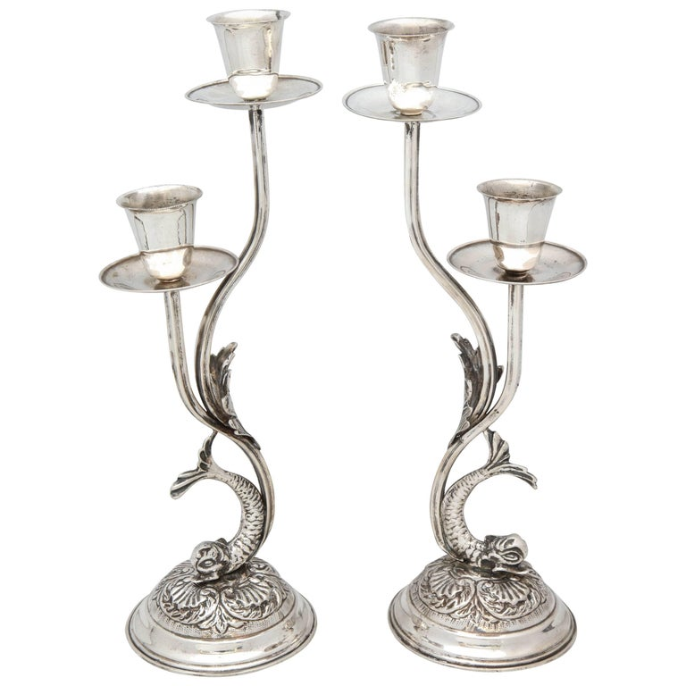 Pair of Art Nouveau Style Continental Silver Dolphin-Form Candlestick