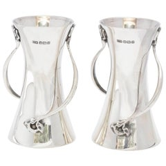 Rare Pair of Art Nouveau Sterling Silver Bud Vases