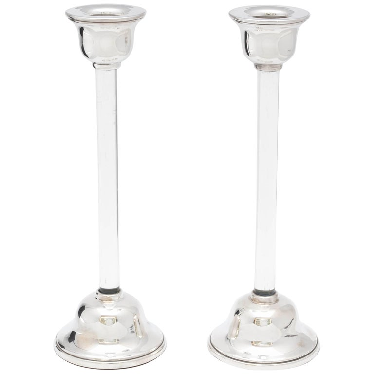 Pair of Mid-Century Modern Sterling Silver-Mounted Crystal Candlesticks