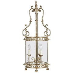 Brass Circular Glazed Victorian Gasolier Lantern, Now Converted to Electricity