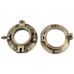 Two Opening Brass Ship's Portholes