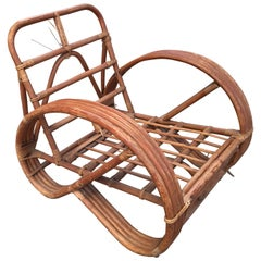 3/4 Round Pretzel Arm Lounge Chair in Bamboo and Rattan, France, 1950s