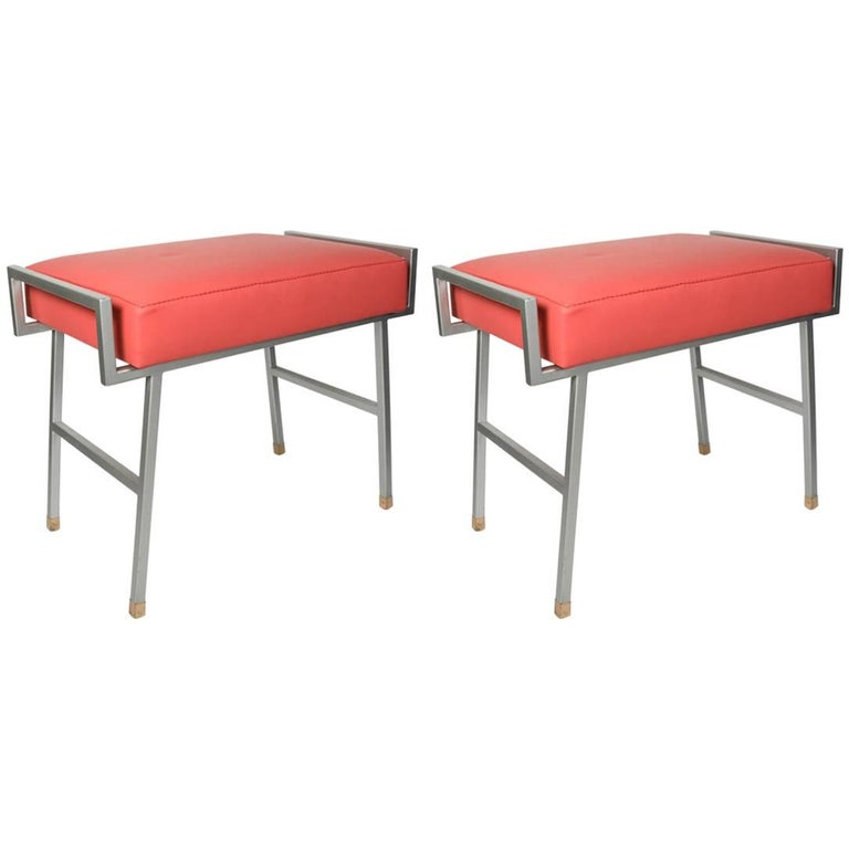 Pair of 1960s Stools by Maison Arlus For Sale