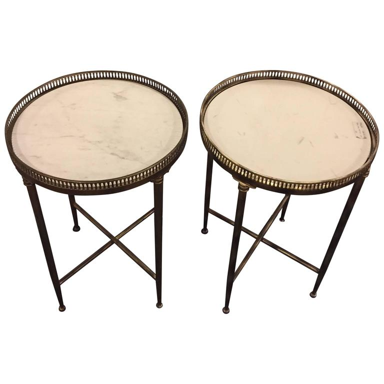 Pair of Metal Base Galleried Marble Top Circular End Tables Bouilliottes For Sale