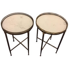 Pair of Metal Base Galleried Marble Top Circular End Tables Bouilliottes