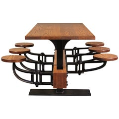 Oak Dining Table with Attached Swing Out Seats, Chairs, Cafe