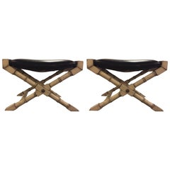 Pair of Hollywood Regency Style Faux Bamboo X-Form Benches