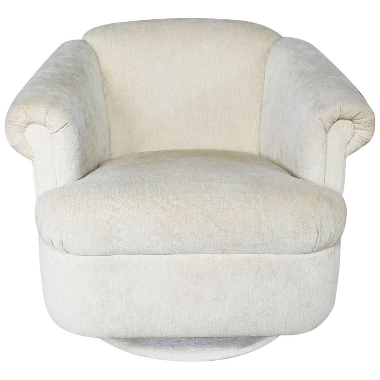 Barrel Shaped Off White Vintage Swivel Club Chair With Rolled Arms For