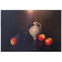 Large 20th Century Oil on Canvas, Still Life of Apples and a Pottery Wine Jug