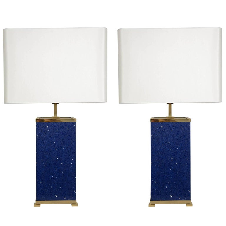 Pair of Blue Stone Lamps by Enzo Missoni