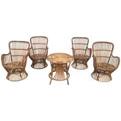 Bamboo and Rattan Set Composed by Four Chairs and One Side Table, Italy, 1950s