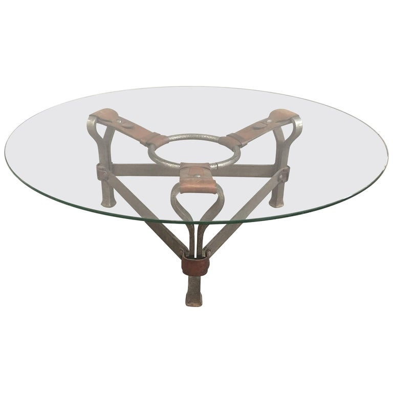 Chic Coffee Table Attributed to Jacques Adnet For Sale