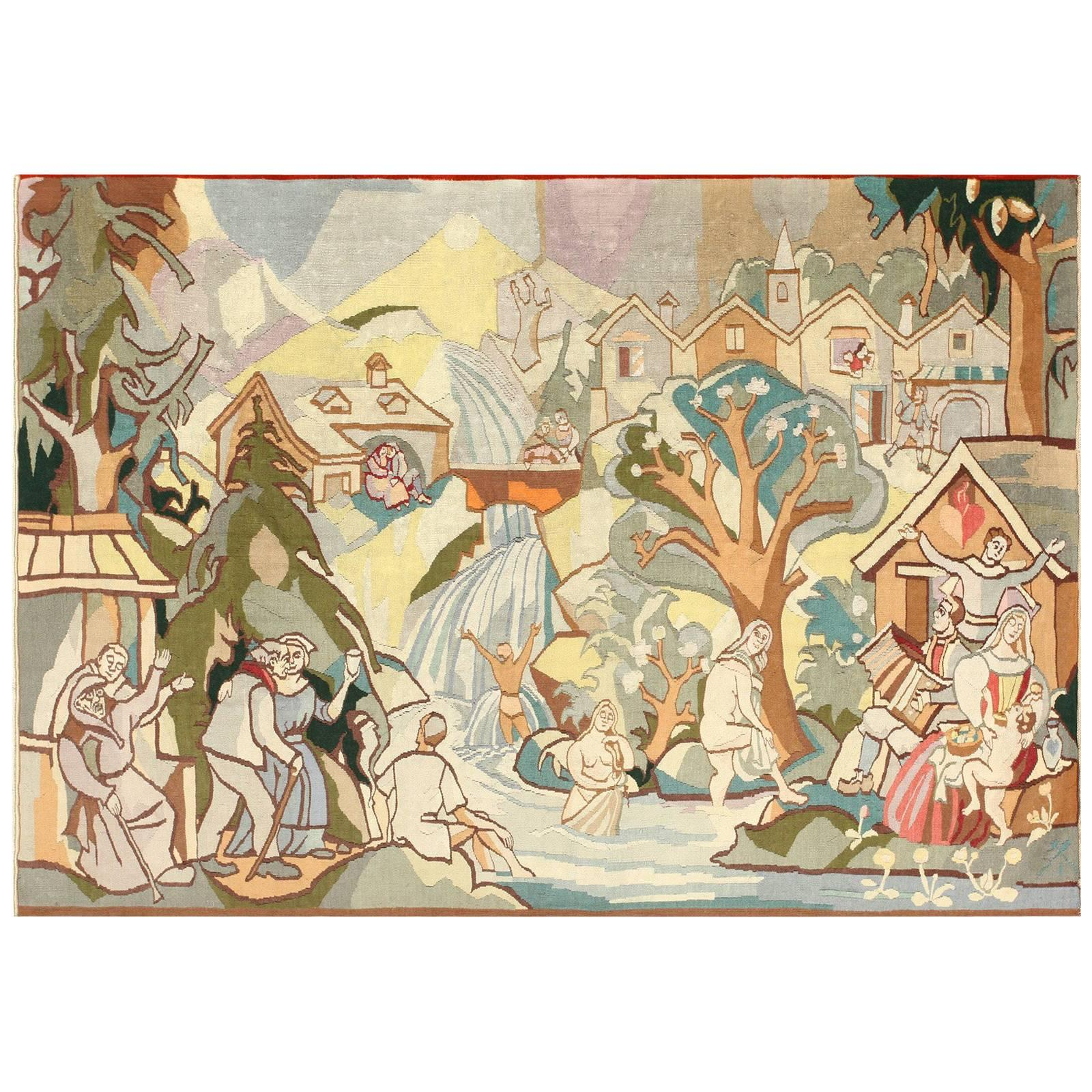 Vintage Swedish Tapestry. Size: 8 ft 3 in x 5 ft 10 in (2.51 m x 1.78 m)