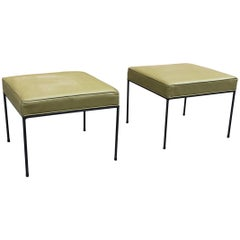 Paul McCobb Square Wrought Iron and Olive Green Vinyl Ottomans