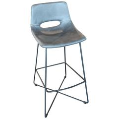 Contemporary Bar Stool in Bonded Leather