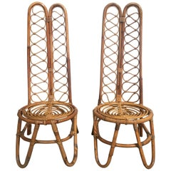 Pair of French Riviera Midcentury Bamboo Chairs with High Back from 1970s