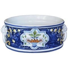Vintage Blue and White Italian Cachepot