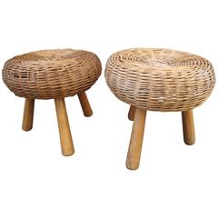 Pair of Rattan Stools Attributed to Tony Paul