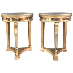 Pair of Hollywood Regency Style Mirrored and Silvered End Lamp Tables