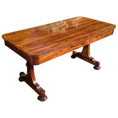 Important 19th Century Rosewood Antique Library Table or Sofa Table