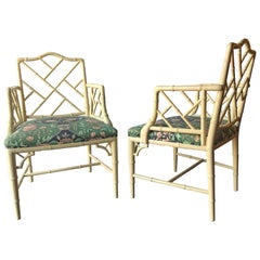 Pair of Custom Bamboo Form Armchairs in a Fine Florida Room Fabric