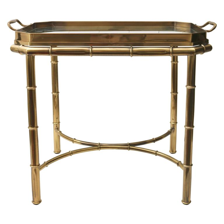 Faux Bamboo Tray Table in Antique Brass For Sale
