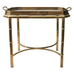Faux Bamboo Tray Table in Antique Brass