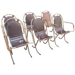 Set of Six Steel Stak-A-Bye Chairs with Original Naugahyde Seats