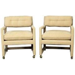 Parsons Style Rolling Club Armchairs , Style of Milo Baughman, MCM Vintage