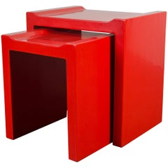 Nesting Tables with Flange Corners, Set of Two, by Robert Kuo, Limited Edition