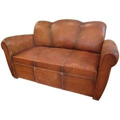 French Art Deco Leather Club Sofa