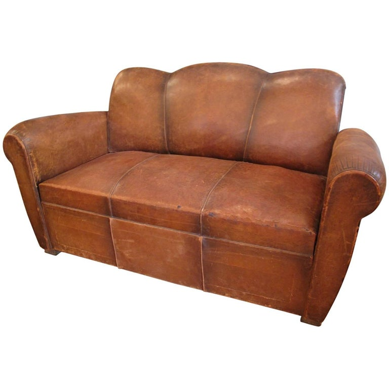 French art deco leather club sofa for sale at 1stdibs for Art deco style sofa