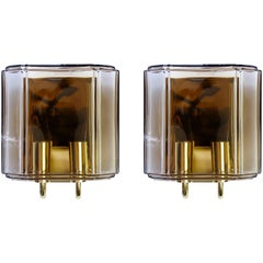 1970s Pair of Smoked Topaz Glass Wall Mounted Sconces by Limburg, Germany