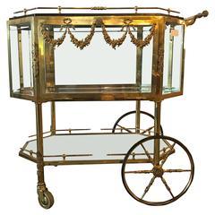 Bronze Vitrine Style Hollywood Regency Tea or Liquor Wagon
