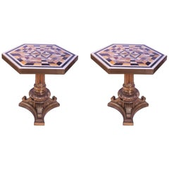 19th Century Pair of Gilt Bronze Marble Pietre Dure Tables